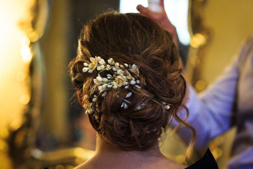 Fotografo de bodas San Luis Potosi, hacienda vallumbroso tocado de la novia